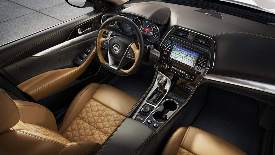 nissan-maxima-interior-seating-camel-leather-aerial-view